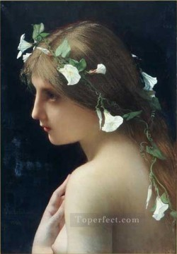 nude naked body Painting - Nymph with morning glory flowers female body nude Jules Joseph Lefebvre